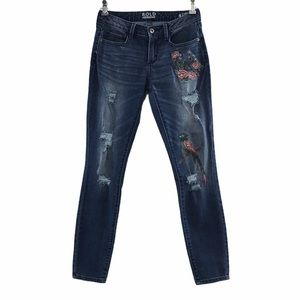 Bold Elements Curvy Skinny Jeans Embroidered Bird
